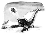 (St Bernard flies off the end of a ski ramp)