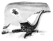 (St Bernard flies off the end of a ski ramp)