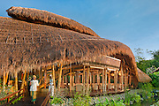 Sakti Dining Room at Fivelements Healing Center. The soaring roofline, sculpted from bamboo and thatch, resembles a banana leaf, symbol of nourishment.