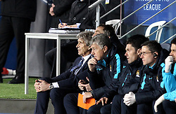 Manchester City Manager Manuel Pellegrini and his coaching staff watch from the dugouts - Mandatory by-line: Robbie Stephenson/JMP - 06/04/2016 - FOOTBALL - Parc des Princes - Paris,  - Paris Saint-Germain v Manchester City - UEFA Champions League Quarter Finals First Leg