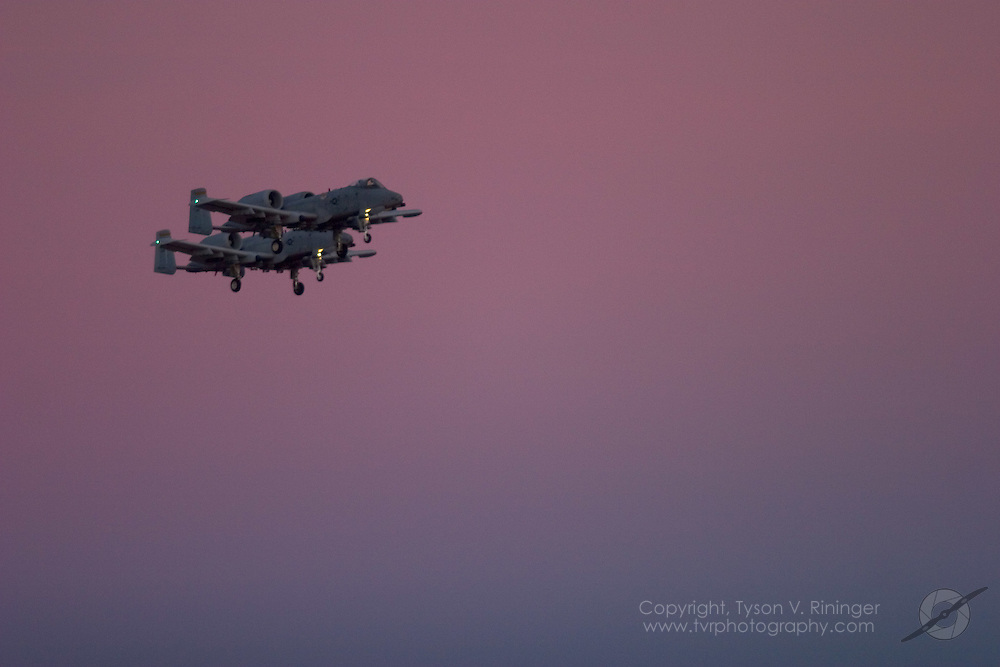 O/A-10A Warthogs return to Nellis Air Force Base just after sundown.