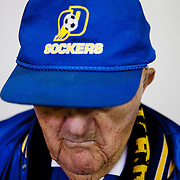 Norbert Stein, 100, who says he's been attending San Diego Sockers games since 1960, poses for a portrait before the San Diego Sockers matchup against the Turlock Express at the Valley View Casino Center on Saturday, Feb. 23, 2013 in San Diego, California, U.S.