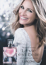 Celebrities advertising in adverts in european countries. Cara Delevigne La Perla lingerie - Chanel perfume Gisele Buendchen Keira Knightley - Dior perfume Jennifer Lawrence Robert Pattinson - Dolce Gabbana lipstick Monica Bellucci - Doppia Difesa Organisation against violence towards women Michelle Hunziker Julia Bongiorno - Eni electricity and gas Roberto Bolle - Fendi perfume Mark Ronson Anja Rubik - Imedeen facial cream Christy Turlington Burns - Intimissimi lingerie Christof Innerhofer - Jaeger LeCoultre watch Diana Krueger - Julia Roberts Lancome perfume - Longiness watch Kate Winslet Simon Baker - Louis Vuitton luggage suitcase Michelle Williams - Mandarin Oriental Hotel Morgan Freeman - Marc Jacobs clothing Miley Cyrus - Pinko clothing Alessandra Ambrosio - Ralph Ricky Lauren handbag - Richmond Belen Rodriguez - Stefano De Martino Richmond perfume - Stuart Weitzman clothing Kate Moss - Swarovski jewelry Miranda Kerr - TW Steele catch Kelly Rowland - Yamamay Yasmin Amber Le Bon lingerie - Cara Delevingne for Tag Heuer watch - George Clooney wearing a wedding ring for Omega watch - Cara Delevingne and Kate Moss for My Burberry perfume - Rafael Nadal for Tommy Hilfiger underwear - Rihanna for Nude Rebl fleur perfume - Jennifer Lawrence for Dior Addict lipstick - Sophia Loren for Dolce Gabbana lipstick - Christina Aguilera for Touch of seduction perfume - Penelope Cruz for Carpisa handbag - Cara Delevingne and Pharrell Williams for Chanel clothing - Jessica Alba for Braun silk epil razor - Cara Delevingne for Yves Saint Laurent lipstick - Karlie Kloss for Marella clothing - Kendall Jenner for Estee Lauder lipstick - John Travolta for Breitling watch - Kate Moss Cara Delevingne for Mango clothing - Nicole Kidman for Omega watch - Novak Djokovic for Seiko watch - Sharon Stone for Airfield clothing - Patricia Arquette for Marina Rinaldi clothing. Ads Advertising. 28 May 2017 Pictured: Julia Roberts. Photo credit: MEGA TheMegaAgency.com +1 888 505 6342