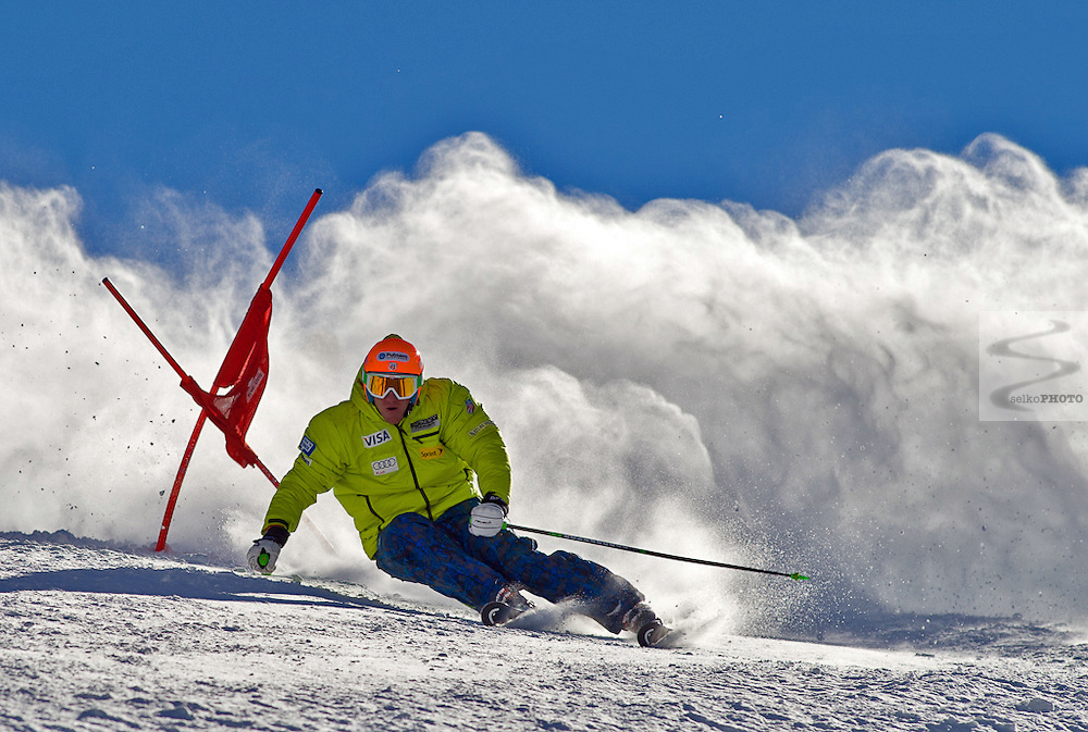 US Ski Team athlete Ted Ligety training giant slalom on Golden Peak in Vail,CO on November 17, 2010.