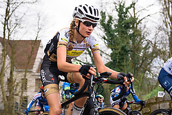 Saartje Vandenbroucke on Kapelmuur - Pajot Hills Classic 2016, a 122km road race starting and finishing in Gooik, on March 30th, 2016 in Vlaams Brabant, Belgium.