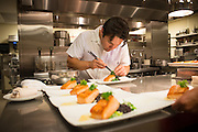 Chef Matt Molina plates pacific salmon