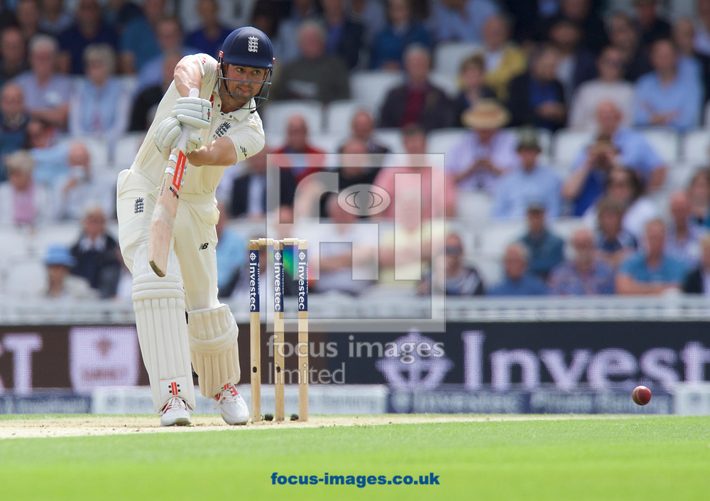 Alastair Cook of England batting during the 100th Investec Test Match match at the Kia Oval, London<br /> Picture by Alan Stanford/Focus Images Ltd +44 7915 056117<br /> 28/07/2017