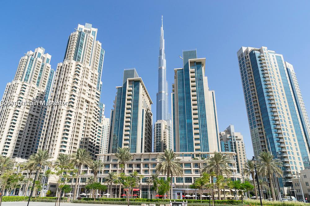 View of modern high-rise apartment towers and Burj Khalifa in Downtown Dubai United Arab Emirates