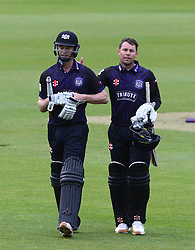 Ian Cockbain (capt) of Gloucestershire is congratulated by Geraint Jones of Gloucestershire after the game as he achieves a career best 91 not out.  - Photo mandatory by-line: Dougie Allward/JMP - Mobile: 07966 386802 - 15/05/2015 - SPORT - Cricket - Bristol - Bristol County Ground - Gloucestershire County Cricket v Middlesex County Cricket - NatWest T20 Blast