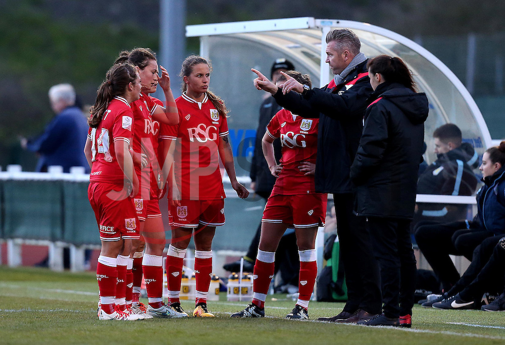 Willie Kirk manager of Bristol City Women talks to his players - Mandatory by-line: Robbie Stephenson/JMP - 02/01/2012 - FOOTBALL - Stoke Gifford Stadium - Bristol, England - Bristol City Women v Aston Villa Ladies - FA Women's Super League 2