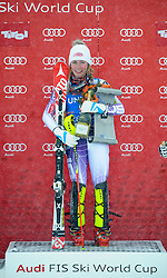 29.12.2014, Hohe Mut, Kühtai, AUT, FIS Ski Weltcup, Kühtai, Slalom, Damen, Siegerehrung, im Bild Siegerin Mikaela Shiffrin (USA) // Winner Mikaela Shiffrin of the USA celebrates on Podium during the award ceremony after Ladies Giant Slalom of the Kuehtai FIS Ski Alpine World Cup at the Hohe Mut Course in Kuehtai, Austria on 2014/12/29. EXPA Pictures © 2014, PhotoCredit: EXPA/ Erich Spiess