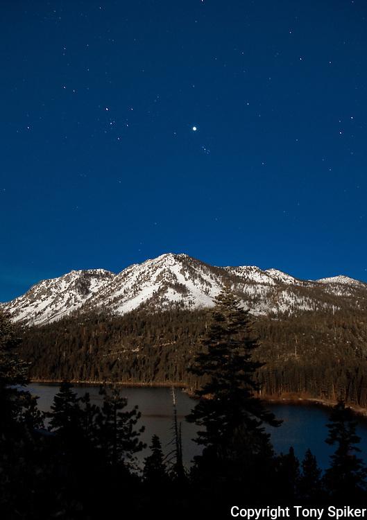 """Full Moon Over Emerald Bay 1"" - The full moon illuminates Jake's Peak and Emerald Bay"