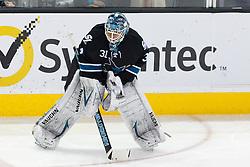 Mar 22, 2012; San Jose, CA, USA; San Jose Sharks goalie Antti Niemi (31) warms up before the game against the Boston Bruins at HP Pavilion. Mandatory Credit: Jason O. Watson-US PRESSWIRE