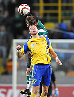 20091105: LISBON, PORTUGAL - Sporting Lisbon vs Ventspils: Europa League 2009/2010 - Group Stage. In picture: Edgars Gauracs (VENT) and Miguel Veloso (SPO). PHOTO: Alexandre Pona/CITYFILES