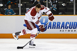 February 1, 2011; San Jose, CA, USA; Phoenix Coyotes left wing Ray Whitney (13) warms up before the game against the San Jose Sharks at HP Pavilion. San Jose defeated Phoenix 5-3. Mandatory Credit: Jason O. Watson / US PRESSWIRE