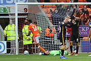 Blackpool Defender, Curtis Tilt (16) makes it 3-2 goal during the EFL Sky Bet League 1 match between Blackpool and Bradford City at Bloomfield Road, Blackpool, England on 8 September 2018.