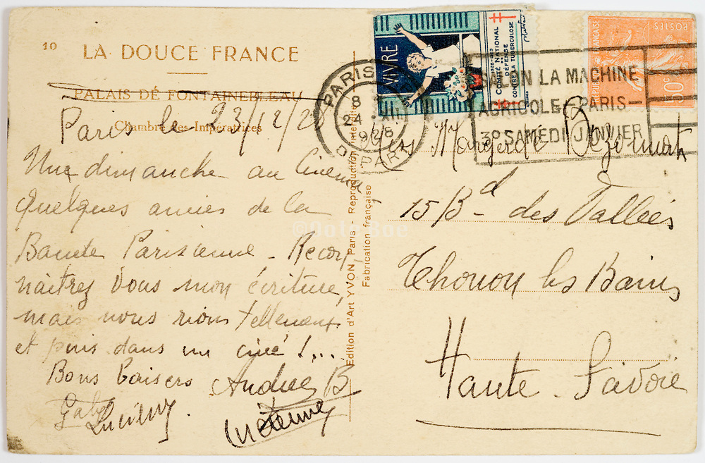 the back of a postcard mailed from Paris in 1928