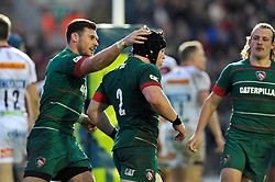 Harry Thacker of Leicester Tigers is congratulated on his try by Adam Thompstone - Photo mandatory by-line: Patrick Khachfe/JMP - Mobile: 07966 386802 09/11/2014 - SPORT - RUGBY UNION - Leicester - Welford Road - Leicester Tigers v Sale Sharks - LV= Cup