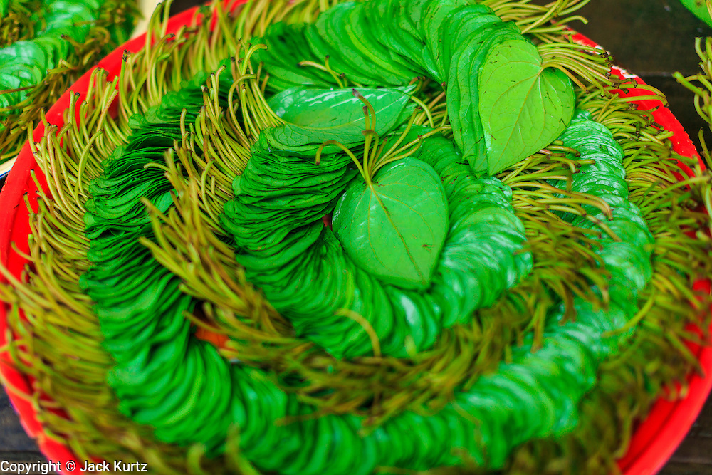 06 JUNE 2014 - IRRAWADDY DELTA,  AYEYARWADY REGION, MYANMAR: Betel leaf for sale in Pantanaw, a town in the Irrawaddy Delta (or Ayeyarwady Delta) in Myanmar. The region is Myanmar's largest rice producer, so its infrastructure of road transportation has been greatly developed during the 1990s and 2000s. Two thirds of the total arable land is under rice cultivation with a yield of about 2,000-2,500 kg per hectare. FIshing and aquaculture are also important economically. Because of the number of rivers and canals that crisscross the Delta, steamship service is widely available.   PHOTO BY JACK KURTZ