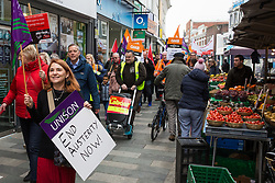 Maidenhead, UK. 23rd February, 2019. Members of the Windsor and Maidenhead branches of the Labour Party and UNISON and GMB trade unions protest in Prime Minister Theresa May's constituency against planned spending cuts of £6.8m to the 2019/2020 budget by the Royal Borough of Windsor and Maidenhead. Over 1,000 people had signed a petition to the council demanding an alternative to the cuts.