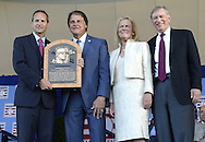 COOPERSTOWN, NY - JULY 27:  2014 Baseball Hall of Famer inductee Tony LaRussa poses for a photo with his HOF plaque with Hall of Fame President Jeff Idleson (L), Hall of Fame Chairman Jane Forbes Clark and Baseball Commisioneer Bud Selig (R) during the 2014 induction ceremonies held at the Clark Sports Center in Cooperstown, New York on July 27 2014.