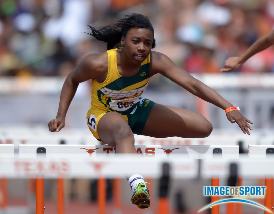 Mar 29, 2014; Austin, TX, USA; Alexis Duncan of DeSoto wins the Division II girls 100m hurdles in 13.94 in the 87th Clyde Littlefield Texas Relays at Mike A. Myers Stadium.
