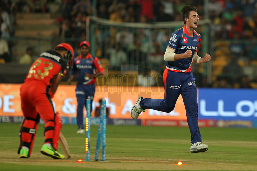 Patrick Cummins of Delhi Daredevils celebrates wicket of Mandeep Singh of Royal Challengers Banglore during match 5 of the Vivo 2017 Indian Premier League between the Royal Challengers Bangalore and the Delhi Daredevils held at the M.Chinnaswamy Stadium in Bangalore, India on the 8th April 2017Photo by Prashant Bhoot - IPL - Sportzpics