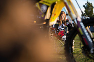 Day in the life of Vicki Golden at Motocross events in Las Vegas, NV -  Life on the road means downtime is often spent on the phone, catching up with friends and family.