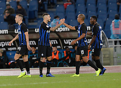 October 29, 2018 - Italy - Mauro Icardi celebrates with Joao Mario after scoring goal 0-1 during the Italian Serie A football match between S.S. Lazio and Inter at the Olympic Stadium in Rome, on october 29, 2018. (Credit Image: © Silvia Lor/Pacific Press via ZUMA Wire)
