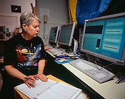 Dr. Jill Tarter, SETI Institute scientist observing in the Control Room.