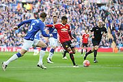 Jesse Lingard of Manchester United shoots during the The FA Cup semi final match between Everton and Manchester United at Wembley Stadium, London, England on 23 April 2016. Photo by Phil Duncan.