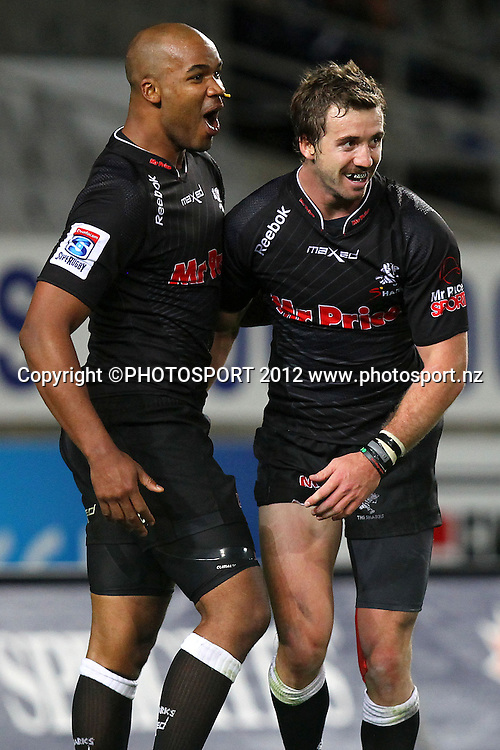 Sharks' Tim Whitehead celebrates his try with JP Pieterson. Super Rugby rugby union match, Blues v Sharks at Eden Park, Auckland, New Zealand. Friday 13th April 2012. Photo: Anthony Au-Yeung / photosport.co.nz