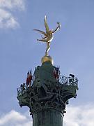 PARIS France Flying Liberty Statue on Top of Bastille Column