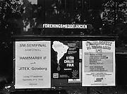 Affischtavla för föreningsmeddelanden.