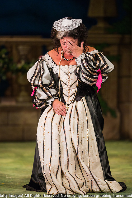 Dress rehearsal of Haddon Hall performed by the National Gilbert &amp; Sullivan Opera Company in Buxton Opera House, Buxton, England on Thursday 02 August 2018 Photo: Jane Stokes<br /> <br /> DIRECTOR/Sarah Helsby Hughes<br /> CONDUCTOR/Andrew Nicklin<br /> CHOREOGRAPHER/ Jackie O'Brien<br /> <br /> CAST<br /> <br /> JOHN MANNERS/ Nick Sales<br /> SIR GEORGE VERNON/Donald Maxwell<br /> OSWALD/ David Menezes<br /> RUPERT VERNON/Richard Suart<br /> THE McCRANKIE/Bruce Graham<br /> SING-SONG SIMEON/Bobby Greatorex<br /> KILL-JOY CANDLEMAN/<br /> NICODEMUS KNOCK-KNEE/Mike Nash<br /> BARNABAS/Max Taylor<br /> MAJOR DOMO/<br /> DOROTHY VERNON/Rachel Harland<br /> LADY VERNON/Catherine Marriott<br /> DORCAS/Bee Bradley<br /> NANCE/Joanne Robinson<br /> GERTRUDE/Val Green<br /> DEBORAH/Alexandra Mather<br /> <br /> THE CHORUS