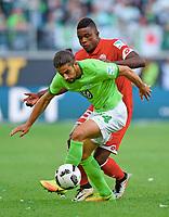 v.l. Ricardo Rodriguez (Wolfsburg), Jhon Cordoba <br /> Wolfsburg, 02.10.2016, Fussball Bundesliga, VfL Wolfsburg - 1. FSV Mainz 05<br /> <br /> Norway only