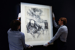 "© Licensed to London News Pictures. 31/03/2017. London, UK. Technicians hand ""Churchill in the House of Commons"" , by Gerald Scarfe (Est. 100-150k).  Press preview of ""Made in Britain"" at Sotheby's in New Bond Street.  The auction on 5 April celebrates innovative British art in the twentieth century as well as artwork by political cartoonist Gerald Scarfe. Photo credit : Stephen Chung/LNP"
