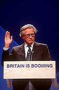 Senior Conservative politician, Michael Heseltine speaks at a Tory Party rally, on 29th April 1997, in London, England. Present to rally support for British Prime Minister,John Major who went on to lose the election to Labour's Tony Blair. (Photo by Richard Baker / In Pictures via Getty Images)