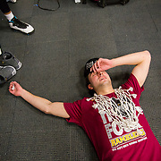 Loyola University Chicago junior Ben Richardson is overcome with emotion in the locker room after beating Kansas State to advance to the Final Four in the NCAA Tournament at Philips Arena in Atlanta, GA., on March 24, 2018. (Photo: Lukas Keapproth)