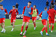 Wales forward Kiefer Moore warming up during the Friendly match between Wales and Belarus at the Cardiff City Stadium, Cardiff, Wales on 9 September 2019.