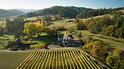 Aerial view over Beacon Hill winery & estate Vineyard, Yamhill-Carlton AVA, Willamette Valley, Oregon