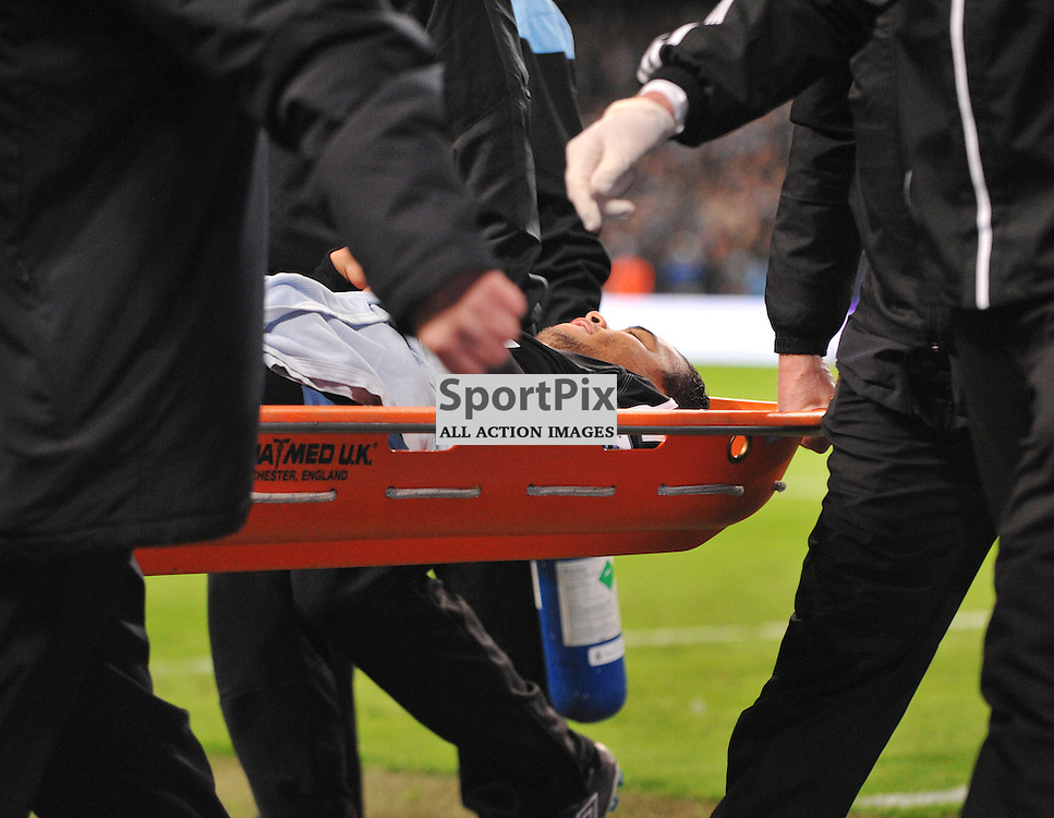 Swansea City 'keeper Michel Vorm is injured at the goal and has to go off..Manchester City v Swansea City, English Premiership, 27th October 2012..(c)  Alex Todd | StockPix.eu