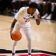 22 December 2018: San Diego State Aztecs guard Jeremy Hemsley (42) calling a play during the first half. The Aztecs beat the Cougars 90-81 Satruday afternoon at Viejas Arena.