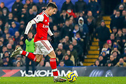 GOAL 1-1 Arsenal forward Gabriel Martinelli (35) scores during the Premier League match between Chelsea and Arsenal at Stamford Bridge, London, England on 21 January 2020.