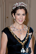 Princess Mary of Denmark arriving at a Gala dinner at Christiansborg Palace to celebrate 40 years on the throne of Queen Margrethe II of Denmark in Copenhagen, Denmark.