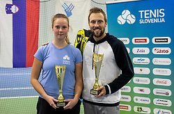 Winners Tina Cvetkovic in Women Category and Tom Kocevar Desman in Men Category posing at trophy ceremony after final match during Slovenian National Tennis Championship 2019, on December 21, 2019 in Medvode, Slovenia. Photo by Vid Ponikvar/ Sportida