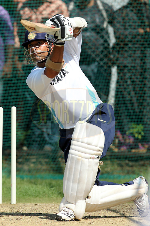 Sachin Tendulkar of India during the Indian team training session held at the Rajiv Gandhi International Cricket Stadium in Hyderabad on the 11th November 2010..Photo by Ron Gaunt/BCCI/SPORTZPICS