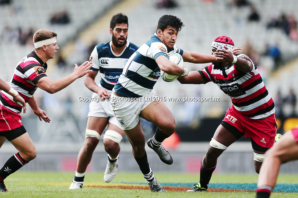 Rieko Ioane of Auckland fends against Viliame Rarasea of Counties Manukau. Auckland v Counties Manukau, Mitre 10 Cup, rugby union national provincial championship, Eden Park, Auckland. 18 September 2016. © Copyright Image: www.photosport.nz