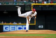 May 19 2011; Phoenix, AZ, USA; Arizona Diamondbacks starting pitcher Josh Collmenter (55) delivers a pitch during the first inning against the Atlanta Braves at Chase Field. Mandatory Credit: Jennifer Stewart-US PRESSWIRE.
