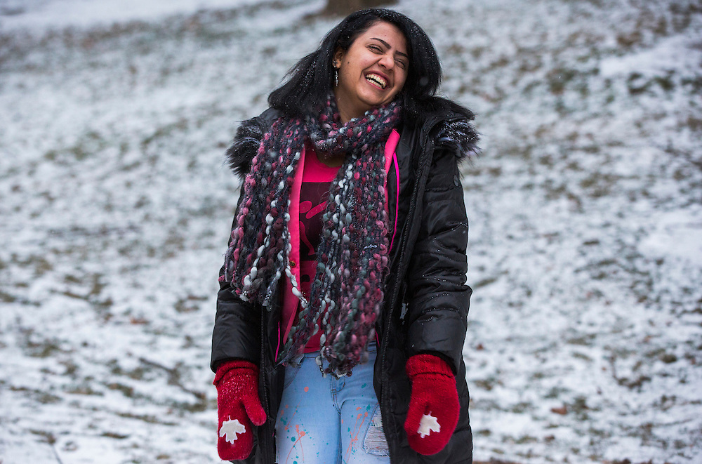 Syrian refugee Fusie Batal Al Hasan smiles in Mississauga, Ontario, Canada, Thursday January 21, 2016.   (Mark Blinch for the BBC)